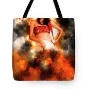 Asian Woman With Santa Hat  Tote Bag