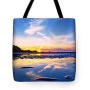 Beach Skyset Sunset On A Perranporth Beach Cornwall Tote Bag