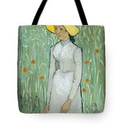 Girl In White Tote Bag
