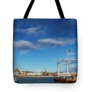 Old Sailing Boats In Helsinki City Harbor Port Finland Tote Bag
