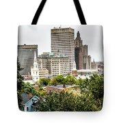 Providence Rhode Island City Skyline In October 2017 Tote Bag