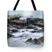 Rocks And Waves At Point Cartwright  Tote Bag