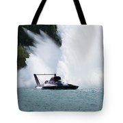 Roostertail From Racing Hydroplanes Boats On The Detroit River For Gold Cup Tote Bag