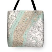 Vintage Map Of New York City  Tote Bag
