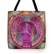 #8913_444 Angels Are Present  Tote Bag