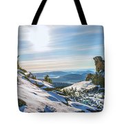 Amazing Winter Landscape With Frozen Snow-covered Trees On Mountains In Sunny Morning  Tote Bag