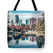 Charlotte City North Carolina Cityscape During Autumn Season Tote Bag
