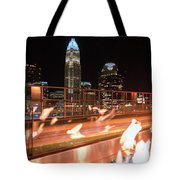 Charlotte North Carolina Skyline View At Night From Roof Top Res Tote Bag