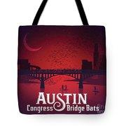Austin's Congress Bridge Bats Illustration Art Prints Tote Bag