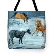 #9 - Ponies In Snow Tote Bag