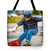 skate park day, Skateboarder Boy In Skate Park, Scooter Boy, In, Skate Park Tote Bag