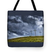 Three Crosses On Hill Tote Bag