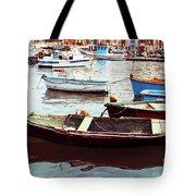 Traditional Boats At Marsaxlokk Harbor In Malta Tote Bag