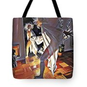9926s-dm Watercolor Woman In White Confronts Herself In Mirror Tote Bag