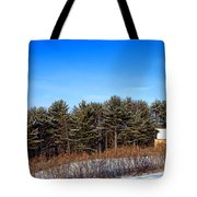 A Barn In The Snow In Maine Tote Bag