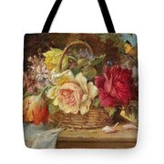 A Basket Of Flowers And A Butterfly Hans Zatzka Tote Bag
