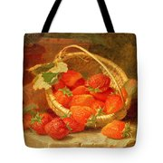 A Basket Of Strawberries On A Stone Ledge Tote Bag