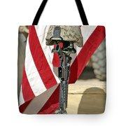 A Battlefield Memorial Cross Rifle Tote Bag by Stocktrek Images
