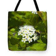 A Bee And A Fly Meet On A Flower Tote Bag