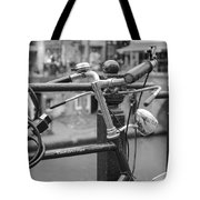 A Bicycle Parked At Fence, Netherlands Tote Bag