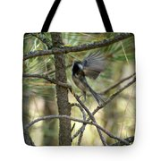 A Black Capped Chickadee Taking Off Tote Bag