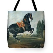 A Black Horse Performing The Courbette Tote Bag