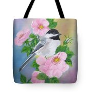 A Blackcapped Chickadee And Roses Tote Bag