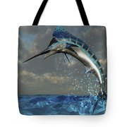 A Blue Marlin Flashes Its Iridescent Tote Bag