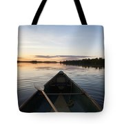 A Boat And Paddle On A Tranquil Lake Tote Bag