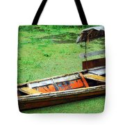 A Boat On Amazon Green Water Tote Bag