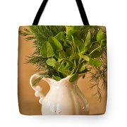 A Bouquet Of Fresh Herbs In A Tiny Jug Tote Bag