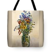 A Bouquet Of Wild Flowers In A Glass Jar. Tote Bag