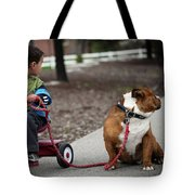 A Boy And His Bulldog Tote Bag