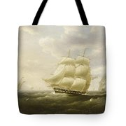 A British Frigate Bowling Down The Channel On A Breezy Day Past The Eddystone Lighthouse Tote Bag
