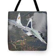 A Bulgarian Air Force Mig-29 In Flight Tote Bag