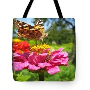 A Butterfly On The Pink Zinnia Tote Bag