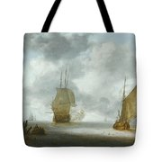 A Calm Sea With A Man Of War And A Fishing Boat Tote Bag