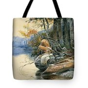 A Camp Site By The Lake Tote Bag