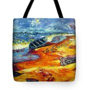 A Canoe At The Beach Tote Bag