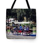 A Carriage Ride Through The Streets Of Katakolon Greece Tote Bag