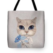 A Cat With A Blue Flower Tote Bag