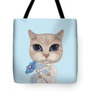 A Cat With A Blue Flower On White Tote Bag