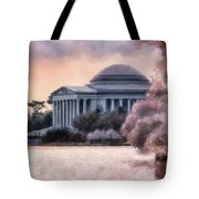 A Cherry Blossom Dawn Tote Bag by Lois Bryan