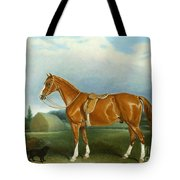 A Chestnut Hunter And A Spaniel By Farm Buildings  Tote Bag by John E Ferneley