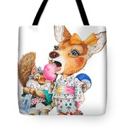A Child Deer And Squirrel At The Summer Festival Tote Bag