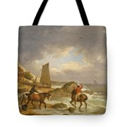 A Coastal Landscape Of The Isle Of Wight With Figures On Horse Back Near A Cottage Tote Bag