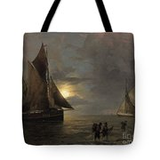 A Coastal Landscape With Sailing Ships By Moonlight Tote Bag