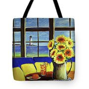 A Coastal Window Lighthouse View Tote Bag