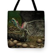 A Compsognathus Prepares To Swallow Tote Bag