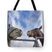 A Conversation Between Two Horses Tote Bag